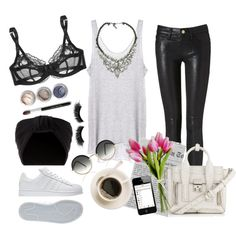 Causal Morning by jazaar on Polyvore featuring Enza Costa, Frame Denim, L'Agent By Agent Provocateur, 3.1 Phillip Lim, Cutler and Gross, Jennifer Behr, Bare Escentuals, eylure and adidas