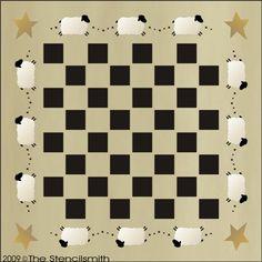 551 - Primitive Sheep Game board-stencil game board primitive checkerboard game board checker sheep chess checkers