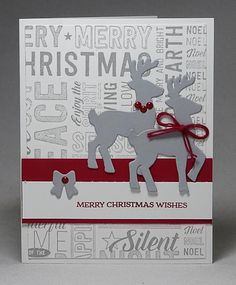 Santa's Sleigh - Reindeer Only, please - www.dreamingaboutrubberstamps.com - This Reindeer Christmas card was made with the Santa's Sleigh bundle and Merry Medley stamp and uses Smoky Slate and Cherry Cobbler from Stampin' Up!