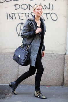 Coat:Grey Coat with Leather Pocket and Fur HoodBag:Black BagShoes:Studded MIU MIU ShoesPhoto By:Phil Oh