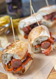 Game Day Recipes!!! Smoked Sausage Sliders with Peppers and Onions. A super easy slider or sandwich for the Super Bowl! One of many great game day easy appetizers to come!