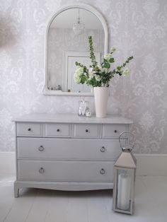 Chest of drawers painted in Farrow and Ball Pavilion Gray