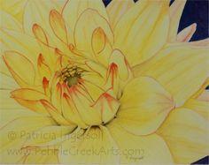 Yellow Dahlia – PebbleCreekArts.com #PebbleCreekArts #Art #Watercolor #Flower #Yellow