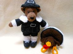 Teddy Bear Thanksgiving Pilgrim and his Pet Turkey by KatesCache, $30.00
