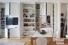 52 square meters: a house that looks bigger! – Things of Home Ladder Bookcase, Small Apartments, Architecture Design, Sweet Home, Minimalism, New Homes, Shabby Chic, Layout, Shelves
