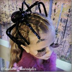 Spider web hairstyle with a giant spider! So fun for either Halloween or crazy hair day! Raw Hair Dye, Halloween Wigs, Halloween Hairstyles, Halloween Makeup, Halloween Ideas, Vampire Hair, Midnight Blue Hair, Witch Hair, Vibrant Hair Colors