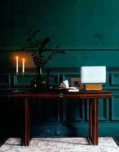 Wall color - The House That Lars Built Teal Walls, Dark Walls, Dark Green Walls, Dark Interiors, Colorful Interiors, Style At Home, Casa Milano, Home Decoracion, Green Rooms