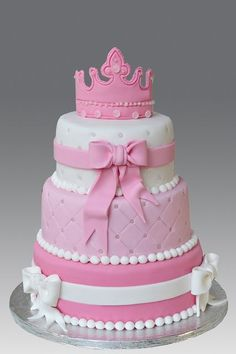 Princess 3 tier Cake by Gellyscakes Baby Cakes, Baby Shower Cakes, Girl Cakes, Cupcake Cakes, Pretty Cakes, Cute Cakes, Beautiful Cakes, Amazing Cakes, Barbie Torte