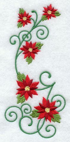 Christmas Poinsettias Spray design (G6268) from www.Emblibrary.com
