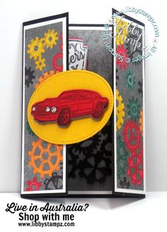For this project I used:  Geared Up Garage Cling Bundle Stitched Shapes Framelits Dies Rhinestone Basic Jewels Classic Garage 6″ X 6″ (15.2 X 15.2 Cm) Designer Series Paper