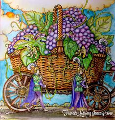 Grapes in a Basket by Tomislav Tomić Zemlja snova done with Faber~Castell Poloychromos Colored Pencils , Water Color, Zig Brushables, Posca White Pen and Sukura .05 Pen. #zemlja #zemljasnovacoloringbook #fabercastell #fabercastellglobal #zigbrushables #sukura #posca #coloring #coloringbook #colourbook #adultcoloringbook #adultcolouringbooks #adultcolouring #adultcoloring #coloringbooksforadults #colouringbooksforadults #coloringbooksforgrownups