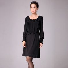 $58.00 2013 spring new brand women's counters authentic European and American round neck Slim was thin long-sleeved base dress women