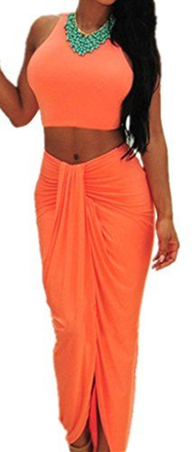 Sidefeel Women's High Waisted Cropped Outfit Two Piece Dancing Dress One Size Orange
