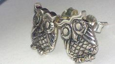 little owls earrings. by GolfishJDS on Etsy Owl Earrings, Goldfish, Owls, Cufflinks, Super Cute, Sterling Silver, Accessories, Etsy, Owl