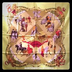 NEW HERMES Scarf-Musee Vivant du Cheval Chantilly Equestrian theme; artist Hubert de Watrigant. Primary colors - chartreuse, maroon, variation of browns. Never worn. All authentication markings shown in the 4th pic. Comes in its original packaging - cardboard insert, orange envelope, product description SKU, plastic sleeve. From my closet to yours! Hermes Accessories Scarves & Wraps