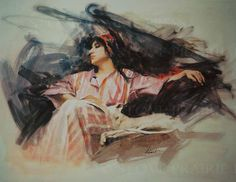 """Robin & Whippet"" - Richard Schmid {figurative woman portrait painting}"