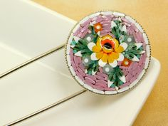 $ 40.75 Micro mosaic brooch. Yellow rose on pink background #Etsy #micromosaic #brooch #scarfbrooch #jewel #jewels #pink #rose #yellow