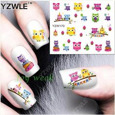 0.49$  Watch here - http://aliiqz.shopchina.info/go.php?t=32766483186 - Water Transfer Nails Art Sticker cute colorful owls Nail Wraps Sticker Fingernails Decals manicure stickers  #bestbuy