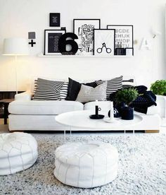 Black and white living room, low couch
