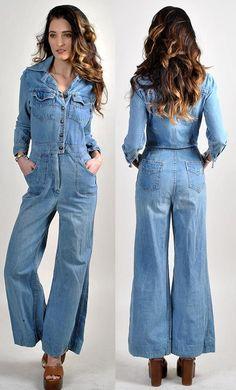 e354325d893b totally cool vintage denim flared jumpsuit H12
