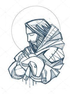 Christ Tattoo, Jesus Tattoo, Christian Paintings, Christian Artwork, Jesus Art, Jesus Christ, Croix Christ, Wall Clock Sticker, Jesus Drawings