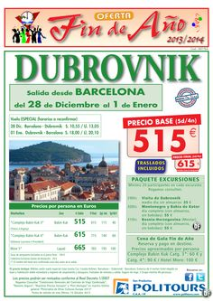 Fin de Año DUBROVNIK salida 28/12 desde Barcelona ( 5d/4n) precio final 615€ ultimo minuto - http://zocotours.com/fin-de-ano-dubrovnik-salida-2812-desde-barcelona-5d4n-precio-final-615e-ultimo-minuto/
