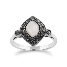 Show details for 925 Sterling Silver 1.00ct Mother of Pearl & Marcasite Art Deco Ring