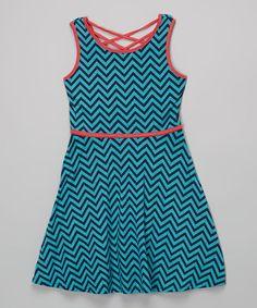 Look at this #zulilyfind! Navy & Jade Chevron Skater Dress - Girls #zulilyfinds