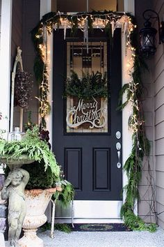 holiday, the doors, christmas front doors, christmas signs, black doors, black christma, merri christma, christmas porch, christmas door