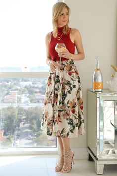 Red sleeveless top+floral midi skirt+beige heeled sandals. Spring/Summer outfit 2016