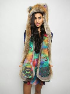 Blackmilk * spirithoods rainbow galaxy fox