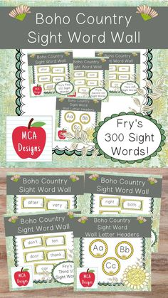 This bundle features all 300 of Fry's sight words! 183 pages of Bohemian themed word wall posters to brighten your classroom! My Boho Country Sight Word Wall Bundle includes: All 300 Fry sight words Coordinating word wall letter headers #teacherspayteachers #tpt #sightwords Sight Word Wall, Word Wall Letters, Fry Sight Words, Sight Word Games, Letter Wall, Teaching Schools, Elementary Schools, Teaching Ideas, Reading Bulletin Boards