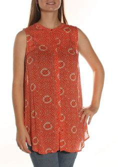 $70 New 0096 LUCKY Printed ORANGE Casual Top M BAB #LUCKY #Top #Casual $2.99 + $6.99