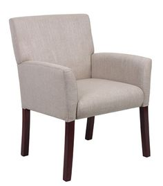 Boss Upholstered Reception Chair with Mahogany Legs B649-LN