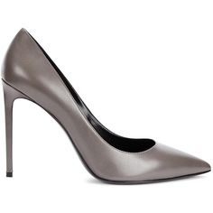 Womens Pointed-Toe Pumps Saint Laurent Grey Pointed Leather Pumps ($585) ❤ liked on Polyvore featuring shoes, pumps, high heel pumps, pointy toe shoes, leather shoes, slip on shoes and leather pumps