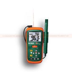 http://handinstrument.se/termometer-r1288/hygro-termometer-53-RH101-r1534  Hygro-termometer  Kombination Luftfuktighet meter plus infraröd termometer har en super stor bakgrundsbelyst dubbel display  Stor bakgrundsbelyst LCD-dubbel display  Primär och sekundär bildskärm  Primär displayen är valbart för IR eller luftfuktighet, Sekundär visar alltid omgivningstemperatur  Infraröd termometer har inbyggd laserpekare och en 8:1 avstånd till målet förhållandet  Data Hold och Max...