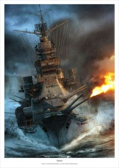 """Takao battleship illustration done for """"Battleships"""" magazine in cooperation with Waldemar Góralski (waldemar.goralski author of this Takao Battleship model. Military Art, Military History, Military Drawings, Ship Drawing, Heavy Cruiser, Imperial Japanese Navy, Naval History, Navy Ships, Ship Art"""