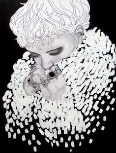 """""""Snow coat"""" pencil and acryl on canvas 80 x 100 cm Pencil, Snow, Statue, Portrait, Canvas, Coat, Tela, Sewing Coat, Men Portrait"""