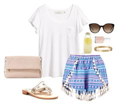 """""""patterned shorts"""" by kcunningham1 ❤ liked on Polyvore featuring H&M, Tory Burch, Boohoo, Jack Rogers, Bormioli Rocco, Essie and Cartier"""
