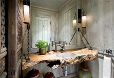32 Rustic Bathroom Ideas Improve Home Sweet Home, Fill your house with things you adore. Decorating your house is a significant part making it feel like it's truly your abode. Lastly, have fun and mak. Rustic Bathroom Designs, Rustic Bathrooms, Wood Bathroom, Natural Bathroom, Bathroom Vanities, Master Bathroom, Bathroom Interior, Design Bathroom, Bathroom Bench