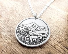 Mountain necklace, Mountain jewelry, Silver mountain pendant backpacking hiking, man's necklace, men's jewelry