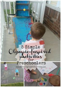 Teach your kids about the Olympics and make your backyard into a whole lot of fun with these simple Olympic Activities for Preschoolers! Sensory Activities, Educational Activities, Summer Activities, Learning Activities, Preschool Activities, Outdoor Activities, Camping Activities, Preschool Kindergarten, Toddler Preschool