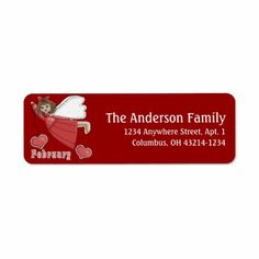 February Angel of the Month Return Address Labels