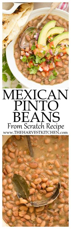 This Mexican Pinto Beans From Scratch Recipe uses dried pinto beans green chilies jalapeno onion garlic bay leaves and cilantro. The beans simmer slowly on the stovetop and turn out tender and delicious every time! Enchiladas, Bean Recipes, Salad Recipes, Tostadas, Nachos, Burritos, Mexican Pinto Beans, Mexican Food Recipes, Dinner Recipes