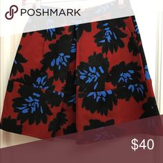 J. Crew floral print skirt Great quality, back zip, beautiful print J. Crew Skirts A-Line or Full