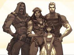 Gabriel Reyes (Reaper), Ana Amari, Young Fareeha Amari (Pharah), & Jack Morison (Solider 76) - Overwatch