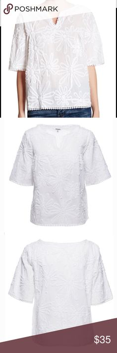"""Floral blouse White floral blouse                                                     - Split neck - Short sleeves - Frayed scalloped trim - Frayed floral soutache design - Boxy fit - Approx. 23.5"""" length - Imported 100% cotton BB Dakota Tops"""