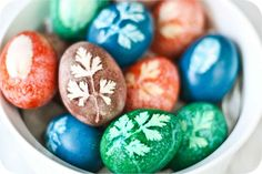 Easter eggs made with herb leaves & vegetable dyes