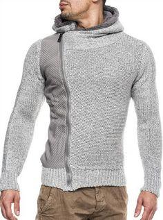 Kapuzen Strick Jacke Pullover-Pulli-Norweger Grau Lee Ecosse by Leif Nelson