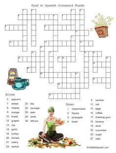 FREE printable food words in Spanish puzzle worksheets and answer keys -- easy to download at PrintableSpanish.com